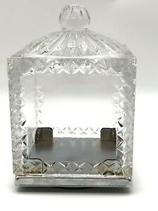 Ornate Square Thick Glass Rotating Display Christmas Cloche 4.5x6.5