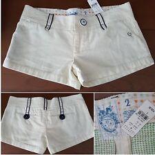 Trovata Barneys NWT $120 Ivory Corduroy Mini Shorts Navy Buttons Sz 2