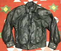 Vintage 90s Wilson's Leather Bomber Jacket Size Medium Black