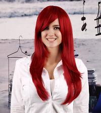 Rihanna Style Bright Wine China Dark Red Long straight Hair Women's Wig wigs