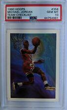 1990 NBA Hoops Team Checklist Michael Jordan #358, HOF, Graded PSA 10