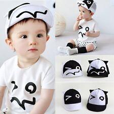 Baby Kids Cute Cotton Stripe Beret Cap Boy Girl Peaked Baseball Casquette Hat WS