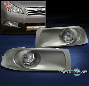 For 10-12 Subaru Outback Clear Lens Chrome Housing Replacement Fog Lights Lamps