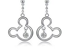 Disney Mickey Mouse CZ & Silver Drop Earrings & Gift Box (UK Seller)