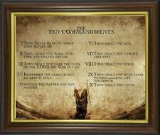 THE 10 TEN COMMANDMENTS FRAMED PICTURE PRINT STATUES CANDLES CROSSES LISTED M10