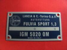 TARGHETTA IDENTIFICATIVA LANCIA FULVIA SPORT 1300