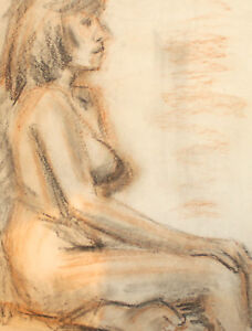 Vintage pastel painting impressionist nude woman portrait