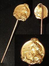 ANCIENNE EPINGLE A CRAVATE EN PLAQUE OR FIX ART NOUVEAU FEMME HARPE TIE PIN