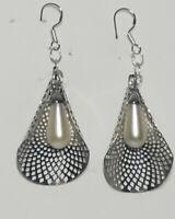Retro Vintage 925 Pierced Dangle Faux Pearl Earrings