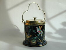 Rare & beautiful Victorian Enamelled Humming Birds on Black glass biscuit barrel