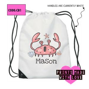 Personalised crab school bag , PE bag , football , ballet , CB1