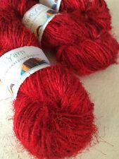 Sari silk yarn, eco yarn, handspun silk, red, 100g. Knit, fibre art