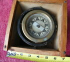 VINTAGE 4 3/4 in BOXED BRASS Polaris M.C.Co Ships Compass W/Wooden Box Nautical