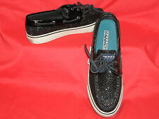 SPERRY BAHAMA BOAT DECK LOAFERS SHOES BLACK GLITTER WOMENS 5 $95