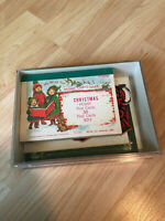 Vintage Box Asst Christmas Cards To From Tags Collectible Postage Stamps 1986