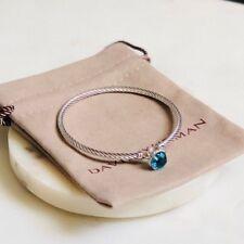 David Yurman Chatelaine Silver Cable Bracelet with Blue Topaz  Sz Medium / 3mm