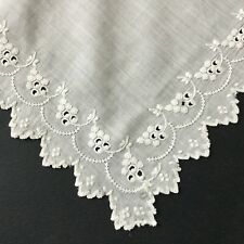 MOUCHOIR ANCIEN DE MARIAGE BAL BRODE Main Antique French Embroidery HANDKERCHIEF