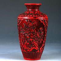 Chinese lacquerware Handwork Carved Flower Vase