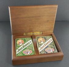 Vintage 2 Decks JACK DANIELS No. 7 Old Brand Whiskey PLAYING CARDS In Wood Box