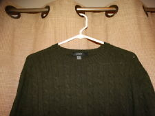 J CREW mens large dark green cable knit sweater wool angora cashmere blend EUC