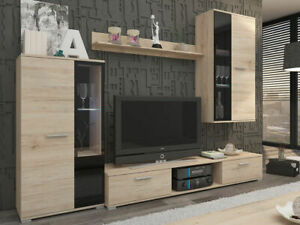 TV Entertainment Unit SALSA - Cabinet, Shelves And Drawers - White, Oak Or Brown