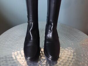 Ladies Over Knee Black Leather & Faux Leather Boots By Parallele (France) UK4