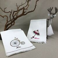 His & Hers Vintage Embroidered Hand Towels Parasol and High Wheel Bicycle