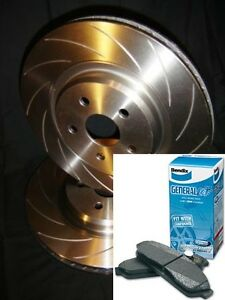 SLOTTED VMAX Front Disc Brake Rotors & BENDIX PADS Ford TERRITORY TS TX Ghia