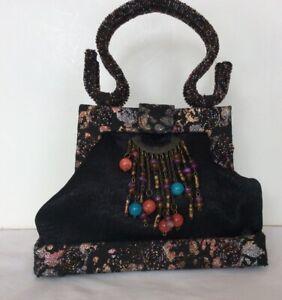 Evening Party Handbag Black Satin W/ Brocade & Beaded Fringe Trim Top Handle