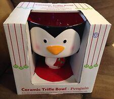Handpainted Dishwasher Safe Ceramic Holiday Penguin Trifle Serving Bowl