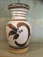 Brown & Cream Glazed Studio Pottery Vase - Marked On Base
