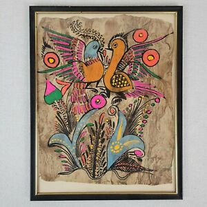 Primitive Funky Hippie 1960s Art Birds and Flowers Painting on Handmade Paper