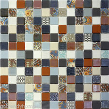 1SF- X-Studio Unique Pattern Glass Mosaic Tile Backsplash Kitchen Orange Blue