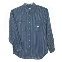 Calvin Klein Mens Long Sleeve Dress Shirt Sz XL Blue/Gray Cotton Stripe