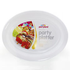 72 x WHITE PLASTIC OVAL SERVING TRAY  PLATTER CATERING PARTY LARGE 48cm x 36.5cm