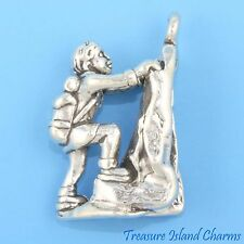 ROCK MOUNTAIN CLIMBER with BACKPACK CLIMBING 3D .925 Solid Sterling Silver Charm