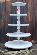 5 tier White wooden stand, Wedding Cupcake Cake Stand, centerpiece, large stand