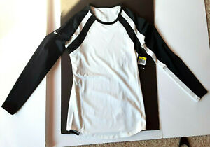 NWT WOMAN'S SIZE SMALL NIKE DRI-FIT WHITE WITH BLACK LONG SLEEVE ATHLETIC TOP
