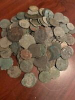 Lot Of 10 Uncleaned Genuine Ancient Roman Coins Bronze