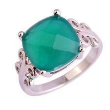Solitare Jewelry Princess Cut Emerald Gemstone Silver Ring Size 10 Free Shipping
