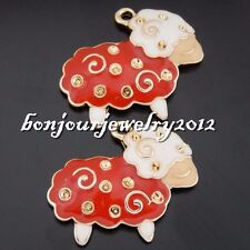 50619 Vintage Gold Alloy Enamel Red Wool Sheep Mutton Crafts Pendants Charms 8x