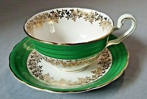 Bone China Green & Gold Teacup with Saucer by Victoria/Cartwright & Edwards