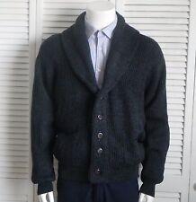 NEW Mens SIZE M ALPACA Dark Gray Grey Ribbed Shawl Collar Cardigan Sweater PERU