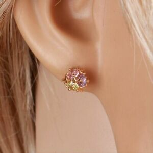 """9ct 9k Yellow """"Gold Filled"""" Love Ladies Multicolour Stones Stud Earrings , Gift"""""""