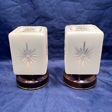 Pair Art Deco Flush Mount Fixtures Weathered Brass Frosted Starburst Shades 69B