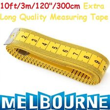"""10ft 3M Tape Measure Extra Long Plastic Non Stretching 300Cm 120"""" x 20mm Tailor"""