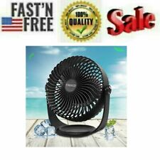 8 Inch Desk Fan 3 Speeds Trekoo USB Table Fan Rechargeable Battery Power (Black)