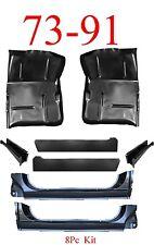 8Pc OEM 73 91 Chevy Blazer Extended Floor Pan X-Rocker Inner & Support GMC