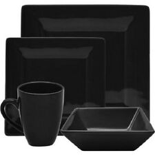 Black Dinnerware Set Kitchen Dining  Square Dishes Plates Mug Bowl 16 Piece
