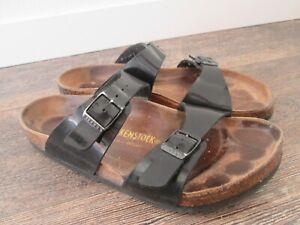 Birkenstock Ibiza BURGUNDY Two Strap Patent Casual Sandals womens sz 40 / 9